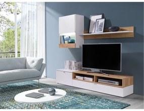TEMPO KONDELA Roso obývacia stena biela / dub zlatý