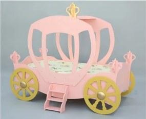 Plastiko detská postieľka princeznovský koč - ružový
