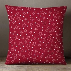 Goldea vianočná bavlnená obliečka na vankúš - vzor strieborné hviezdičky na červenom 45 x 45 cm