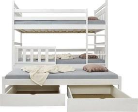 FA Petra 5 200x90 poschodová posteľ s prístelkou Farba: Biela