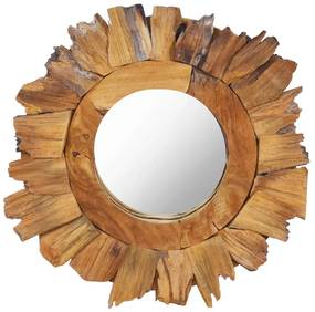 vidaXL Nástenné zrkadlo 40 cm okrúhle teakové drevo