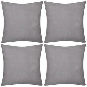 vidaXL 4 sivé návliečky na vankúše, bavlna, 40 x 40 cm