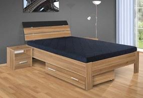 Nabytekmorava Drevená posteľ Darina 200x140 cm farba lamina: buk 381, typ úložného priestoru: úložný priestor - šuplík, typ matraca: matraca 15 cm