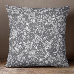 Goldea bavlnená obliečka na vankúš - vzor popínavé kvety na tmavo sivom 45 x 45 cm