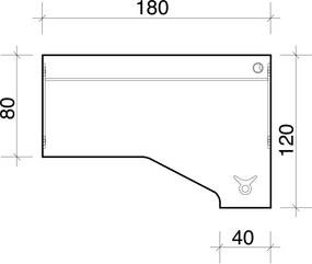 Stôl ergo ľavý, 1800 x 1200 x 755 mm, čerešňa