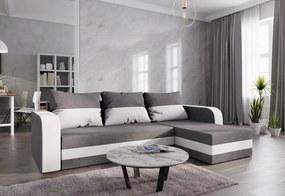 Expedo Rohová rozkládacia sedačka WELTA, 237x85x140, šedá/biela, mikrofáze10/biela