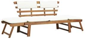vidaXL Vonkajšie lehátko/záhradná lavica, masívne akáciové drevo, 190x66x75 cm