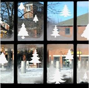 Elektrostatická vianočná samolepka Ambiance Bright White Christmas Trees