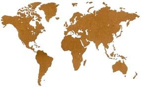 MiMi Innovations Drevená nástenná mapa sveta Luxury, hnedá 180x108 cm