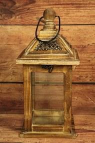 Drevený lampáš - hnedý (v. 31,5 cm)