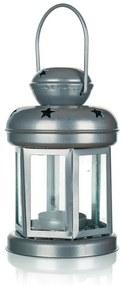 Plechový guľatý lampáš na čajovú sviečku strieborná 16 cm