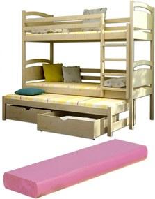 FA Petra 2 200x90 Poschodová posteľ s prístelkou Farba: Ružová (+30 Eur), Variant bariéra: Bez bariéry, Variant rošt: S roštami