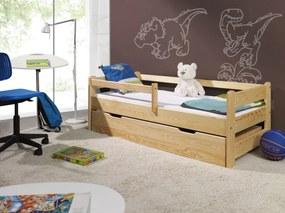 Ourbaby Detská posteľ so zábranou - prírodná Woody 160x70 bez ulozného priestoru