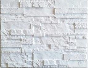 Obkladové 3D PVC panely 14, rozmer 440 x 580 mm, ukladaný kameň biely, IMPOL TRADE