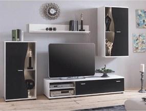 Obývacia stena, biela/čierna, RUPOR NEW