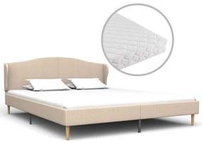 vidaXL Posteľ s matracom béžová 160x200 cm látková