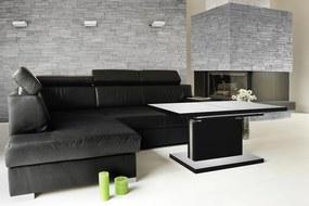 Mazzoni ASTON biely čierny, rozkladacia, zdvíhací konferenčný stôl, stolík, čiernobiely