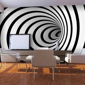 Fototapeta - Black and white 3D tunnel 450x270