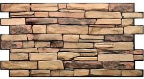 Obkladové 3D PVC panely rozmer 980 x 498 mm kameň hnedý