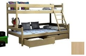 FA Petra 6 200x120x90 Poschodová posteľ s rozšíreným spodným lôžkom Farba: Biela