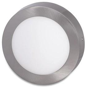 Ecolite Strieborný prisadený LED panel guľatý 225mm 18W Farba svetla: Denná biela LED-CSL-18W/41/CHR