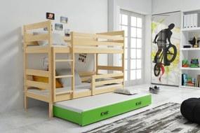 Poschodová posteľ s prístelkou - ERIK 3 - 190x80cm Borovica - Zelený