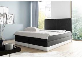 Čalúnená jednolôžková posteľ Stefani čierna,biela 120 + topper zdarma