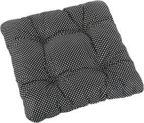 Bellatex Sedák Adela prešívaný Bodka čierna, 40 x 40 cm