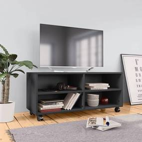 vidaXL TV skrinka s kolieskami sivá 90x35x35 cm drevotrieska