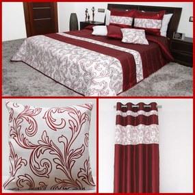DomTextilu Bodrový elegantný set do izby s ornamentmi 1 prehoz, 2 obliečky na vankúše a 1 záves Bordová 7179 Bordová