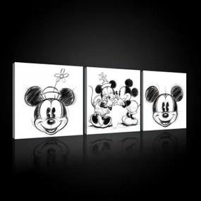 Obraz na plátne viacdielny - OB2630 - Mickey a Minnie Mouse 75cm x 25cm - S13