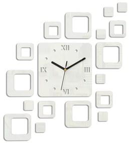 Mazur 3D nalepovací hodiny Roman Quadrat bílé
