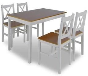 Drevený stôl a 4 drevené stoličky hnedá farba