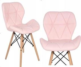 Jedálenská stolička EKO ružová - škandinávsky štýl