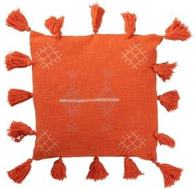 Oranžový vankúš Tassel so strapcami - 45*45 cm