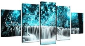 Obraz s hodinami Vodopád v modrej džungli 150x70cm ZP2551A_5B