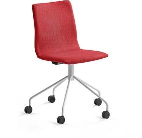Konferenčná stolička Ottawa s kolieskami, červená, biela