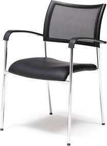 Konferenčná stolička Toronto, koženka, čierna/chróm