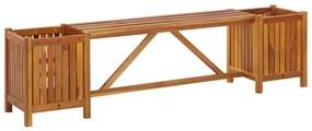 vidaXL Záhradná lavica s 2 kvetináčmi 150x30x40 cm masívne akáciové drevo