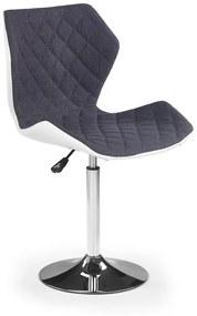 HALMAR Matrix 2 barová stolička sivá / biela / chróm