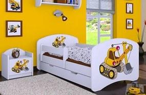 MAXMAX Detská posteľ so zásuvkou 180x90cm ŽLTÝ BAGER