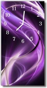 Sklenené hodiny vertikálne  Prírodné vlny fialová abstrakcie