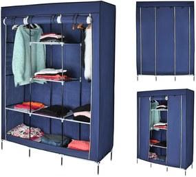 ISO Dvojitá skriňa na oblečenie 173 cm × 125 cm × 43 cm, modrá, 5352
