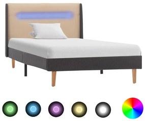 vidaXL Posteľný rám s LED, krémový, látka 90x200 cm