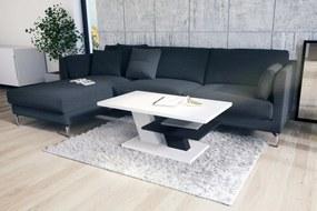 CLIFF MAT biely + čierny, konferenčný stolík, čiernobiely