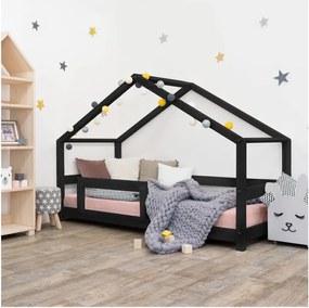Čierna detská posteľ domček s bočnicou Benlemi Lucky, 90 x 180 cm