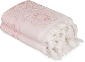 Sada 2 ružových bavlnených uterákov Carmelo Lerro, 50 × 90 cm