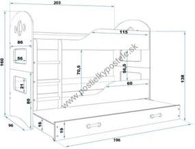 Poschodová posteľ s prístelkou DOMINIK 3 - 200x90cm Biely - Grafitový
