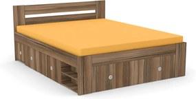 DREVONA Manželská posteľ orech rockpile 160 cm REA LARISA
