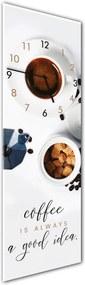 Nástenné hodiny Styler Glassclock Coffee Time, 20 × 60 cm